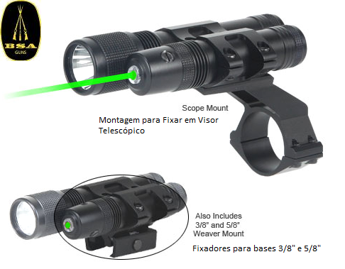 BSA Green LASER + LED Flashlight 140 Lumen