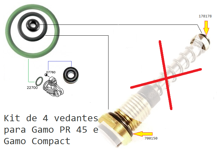 Gamo Oring for valve PR45, Compact and PR15 - Cylinder Oring  #178178+700150+22700+7760