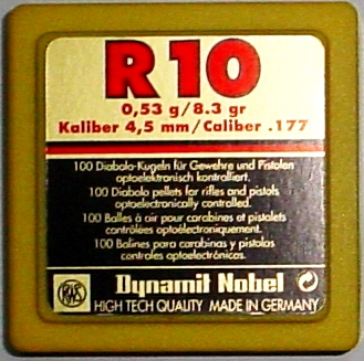 Pellets RWS R10 Carbine 100unit .177in-4,50mm 7,7gr-0,53g