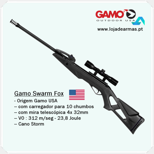 Gamo-Swarm-Fox-Combo-5,5mm-Replay c/ carregador 10 chumbos +telescópica Gamo 4x 32mm