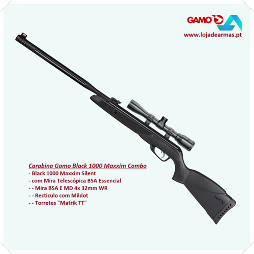 Gamo Carabina Black 1000 Maxxim Silent 4,5mm Combo BSA MD4x32mm WR - 23 Joule