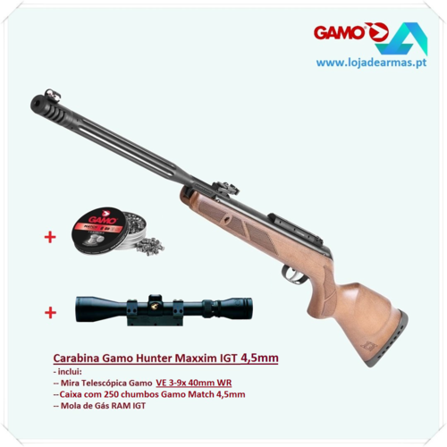 "Gamo Hunter Maxxim IGT .177"" - 2021_20212 version - with riflescope VE3-9x 40mm wr"