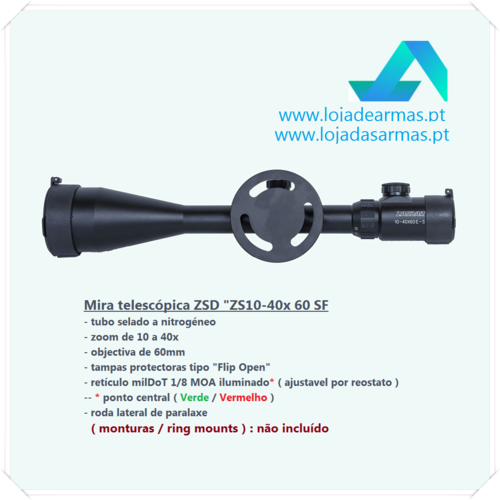 ZSD Riflescope 10-40x60mm AO-MILDOT iluminated reticle Green / Red - side focus